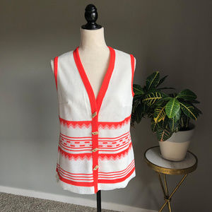 Vintage 70's Cream & Orange Pattern Vest